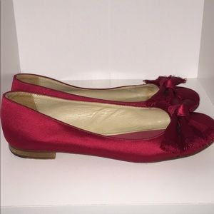 Kate Spade Red Satin Bow Flats